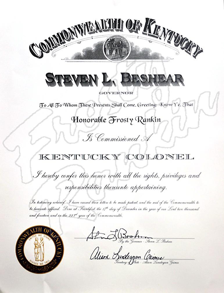 Certificates | Frosty Rankin